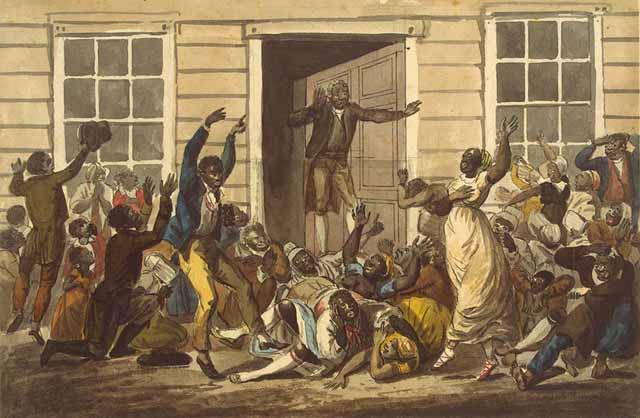 Methodists meeting in an alleyway