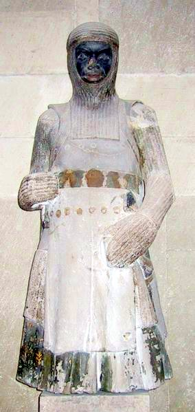 "A statue of the one called ""St. Maurice"" (Maurice = Moor) in Germany (c. 1200's)."
