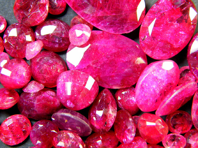 Cut and polished rubies